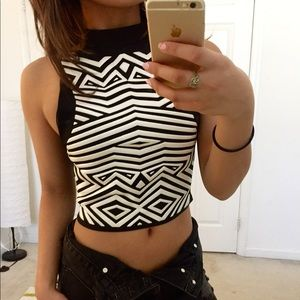 High neck abstract print crop top